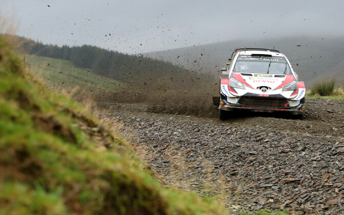 Ott Tänak's Toyota Yaris at Rally Wales.