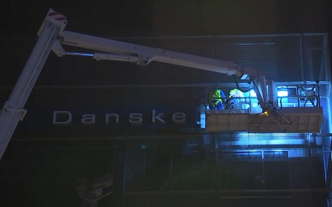 Sign coming off Danske Bank building in Tallinn