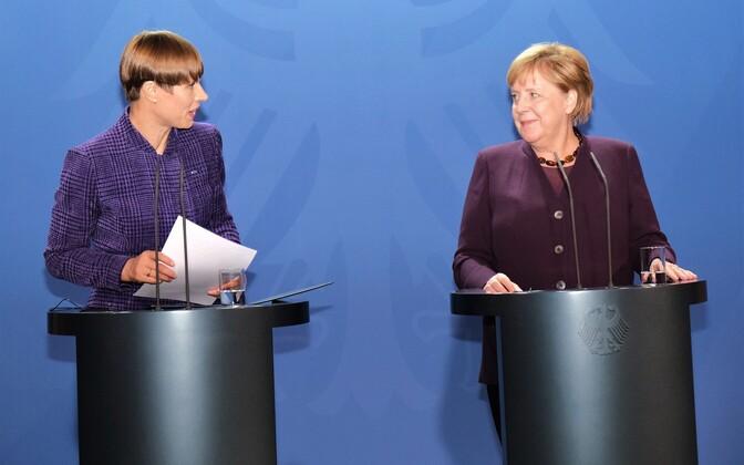 President Kersti Kaljulaid and Chancellor Angela Merkel.