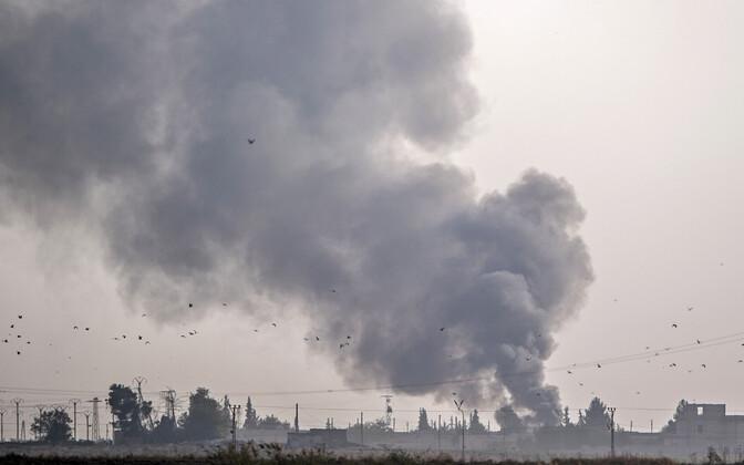 Tal Abyadi linn Süürias pärast Türgi õhurünnakuid.