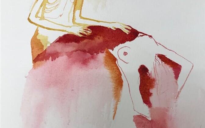 Angela Maasalu. Mõlesin, et tõmbasid mind alt (fragment). Akvarell, 2019.