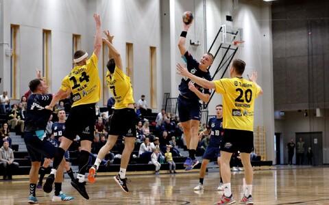 Hetk EHF Challenge Cupi mängust Kauno Ažuolas-KTU – HC Tallinn, viskel leedukate kasuks kaheksa väravat visanud Vilius Juozaitis.