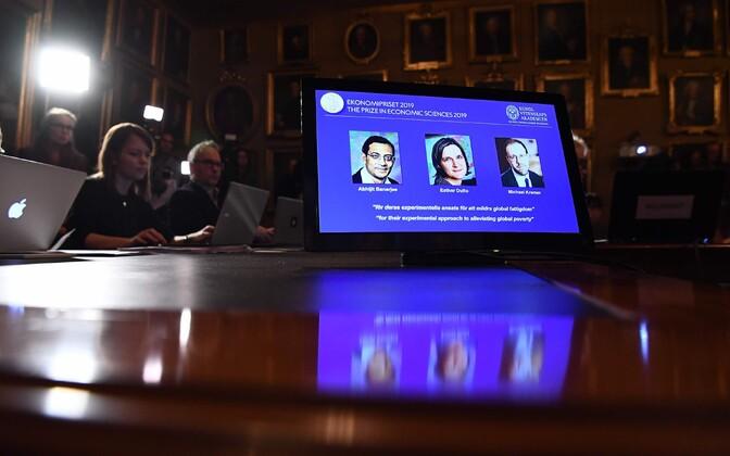 Rootsi Riigipanga Alfred Nobeli mälestusauhinna majanduse alal pälvisid sel aastal Esther Duflo, Abhijit Banerjee ja Michael Kremer