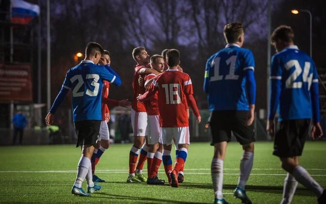 Eesti U-19 jalgpallikoondis mängus Venemaa eakaaslastega