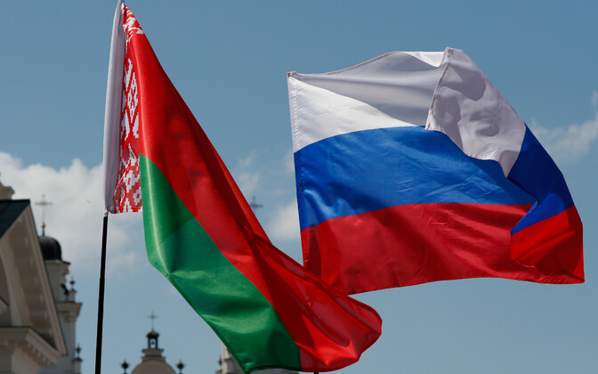 Valgevene ja Venemaa lipud, arhiivifoto.