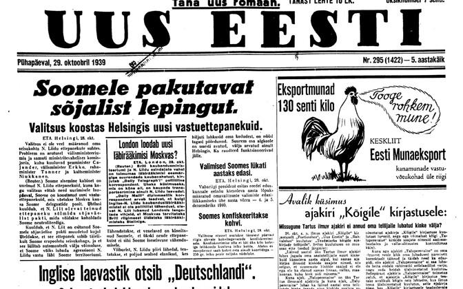 Uus Eesti 29.10.1939.