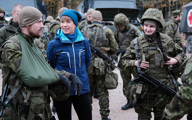 President Kersti Kaljulaid visited the snap exercise Okas 2019 on Thursday. Oct. 17, 2019.