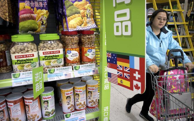 USA-st imporditud pähklid Pekingis kaupluses.
