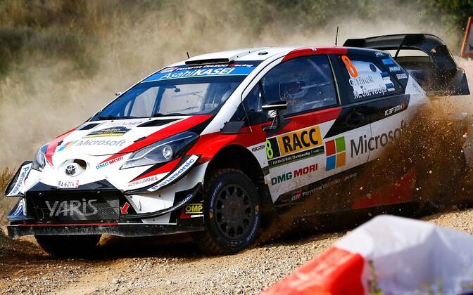 Ott Tänak and Martin Järveoja in action in the Toyota Yaris at the Rally Catalunya on Thursday.