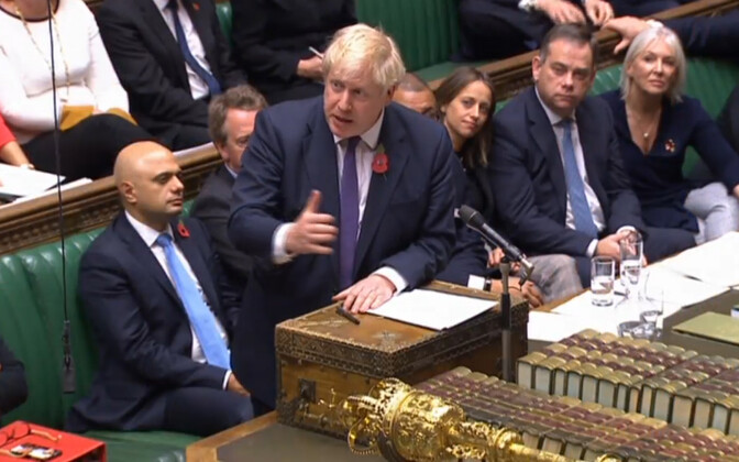 Peaminister Boris Johnson Briti parlamendi alamkojas.