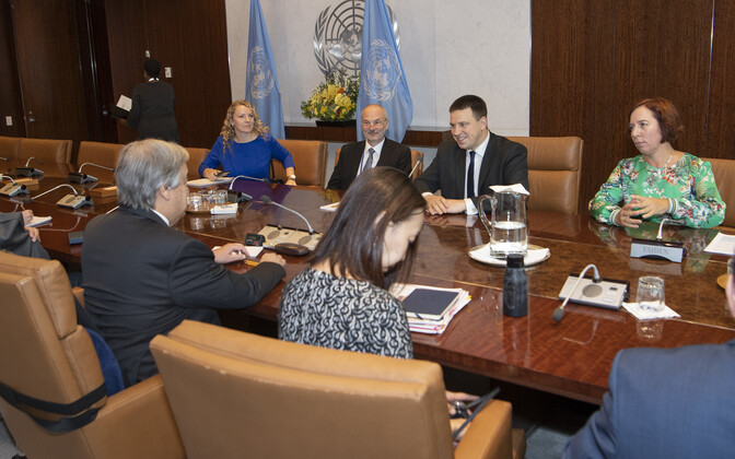 Встреча Юри Ратаса с генсеком ООН Антониу Гутеррешем.