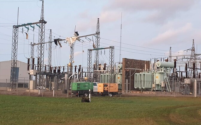 Võru electricity substation, which was heavily damaged in the storm.