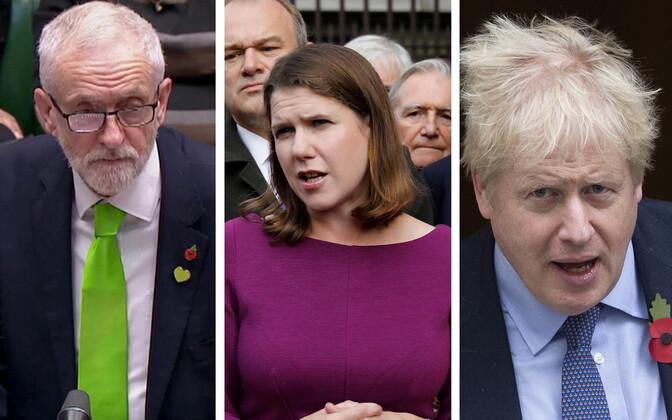 jeremy Corbyn, Jo Swinson ja Boris Johnson.