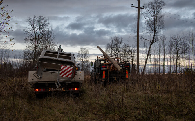 Electricity lines repair work in South Estonia after Sunday's storms.