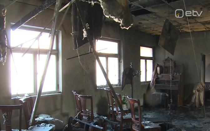 Последствия пожара в похоронном бюро