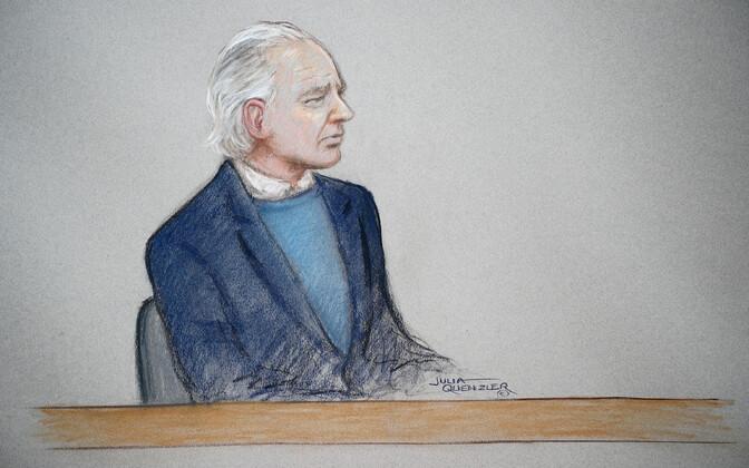 Kohtus tehtud joonistus Julian Assange'ist.