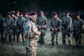 Commander of 16th Air Assault Brigade Brigadier John Clark addresses personnel who took part in Friday's jump.