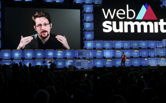 Eduard Snowden esinemas Lissaboni kohtumisel.