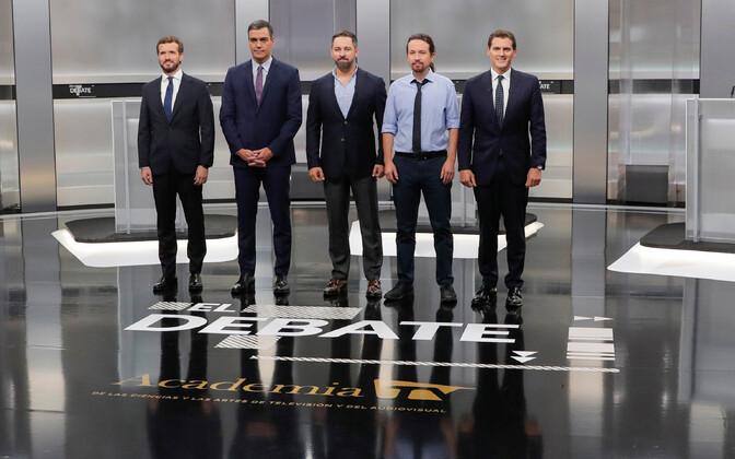 Viie suurema erakonna juhid enne debatti: (vasakult): Casado, Sanchez, Abascal, Iglesias, Rivera.