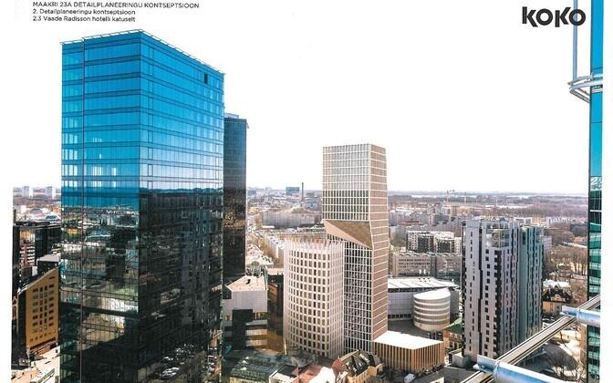 Maakri 23a detailplaneeringu kontseptsioon, vaade Radissoni hotelli katuselt