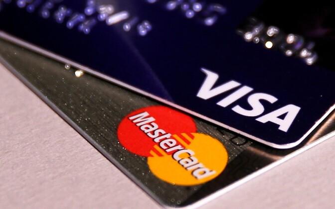 VISA ja Mastercardi kaardid.