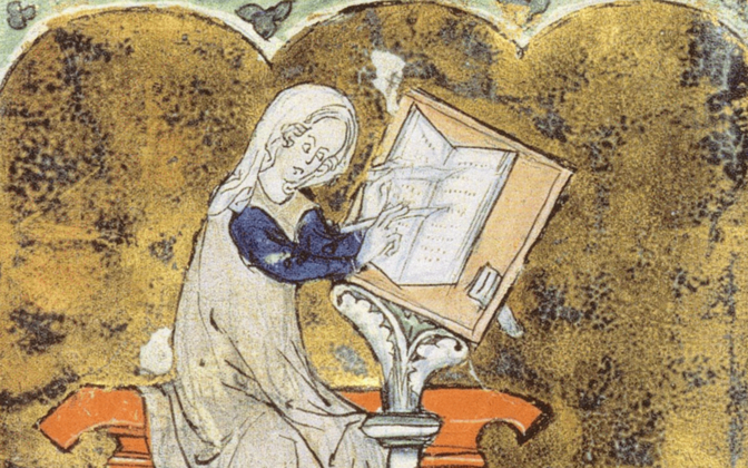 Keskaegne prantsuse luuletaja Marie de France.