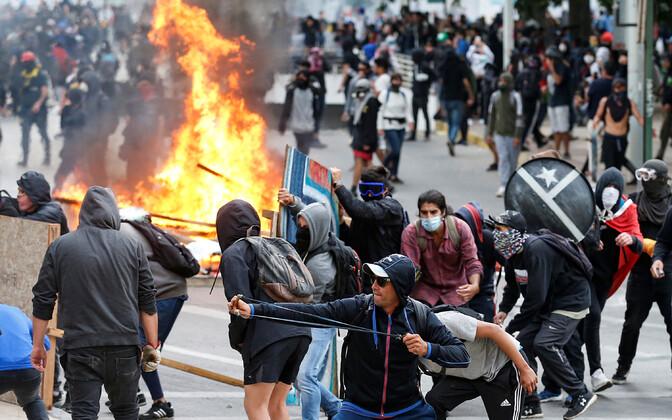 Meeleavaldajad Tšiili pealinnas.