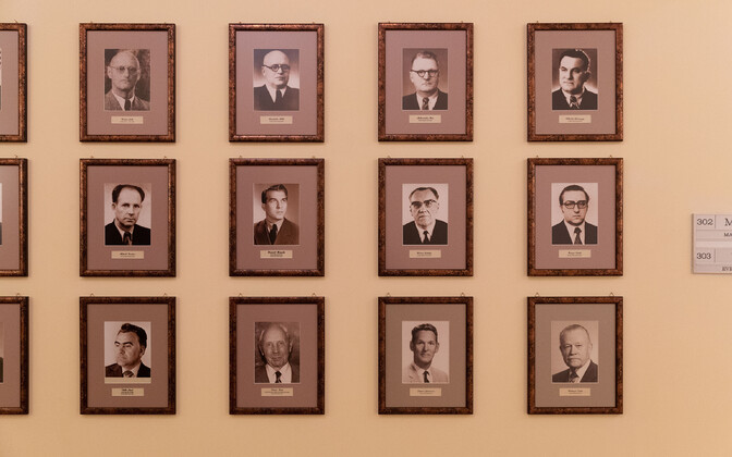 Portraits of former ministers hanging at the Rural Affairs Ministry, included those from the Soviet and Nazi periods of occupation.