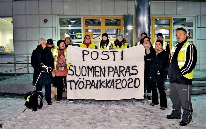 Employees participating in the nationwide postal strike in Tampere, Finland.
