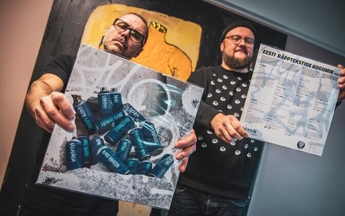 """Luulevinüül """"Eesti räpptekstide kogumik. Osa II"""" ja albumi produtsendid Toomas """"Tommyboy"""" Tilk ja Toomas F. Aru."""