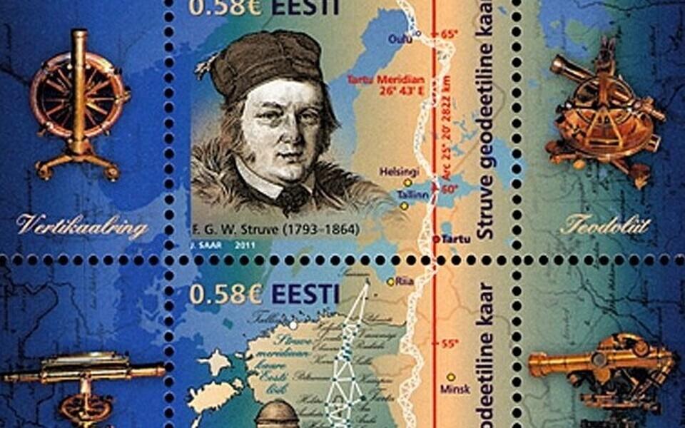 Struve meridiaanile pühendatud postmark.