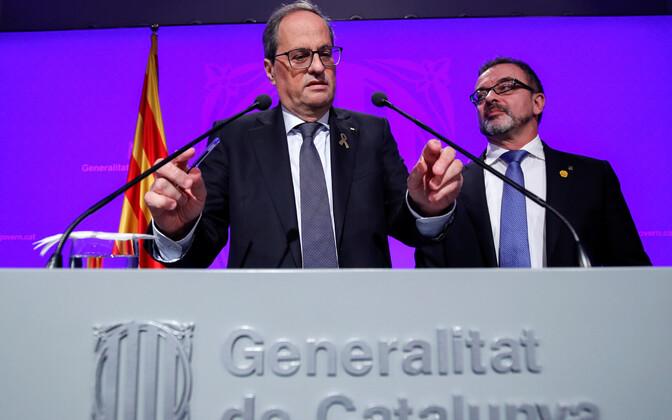 Kataloonia regionaalvalitsuse president Quim Torra, selja taga seisab nõunik Alfred Bosch.