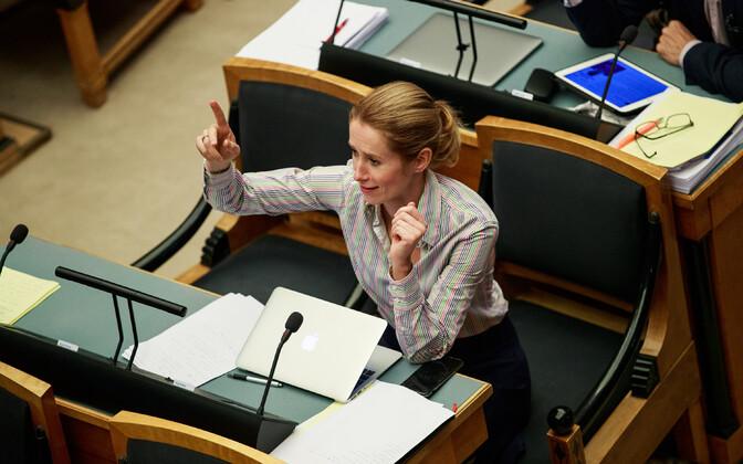 Reform Party leader Kaja Kallas at the Riigikogu.
