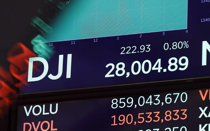 Dow Jones indeks ekraanil New Yorgi börsil.