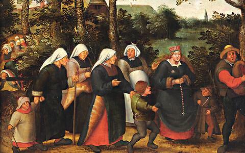 """10. märgil kunstipostmargi sarjast """"Eesti Kunstimuuseumi kullafond"""" on kujutatud Pieter Brueghel noorema ateljees valminud maali"""