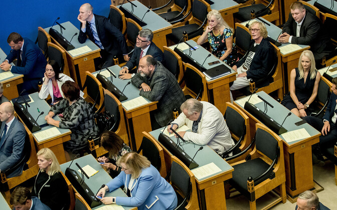 Centre and Reform Party members at the opening session of the Riigikogu in September 2019.