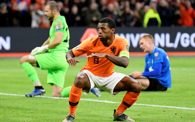 Georginio Wijnaldum scoring against Estonia on Tuesday.