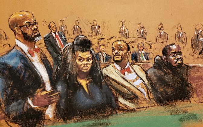 Vangivalvurid Tova Noel ja Michael Thomas koos oma dvokaatidega kohtusaali joonistusel.