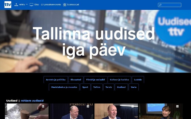 Tallinn TV (TTV) homepage.