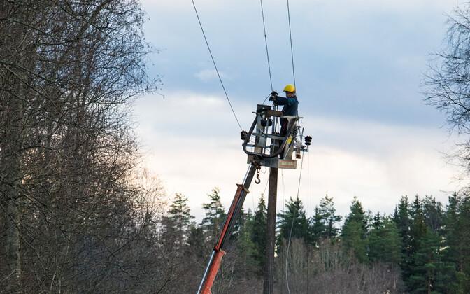 Power line repairs.