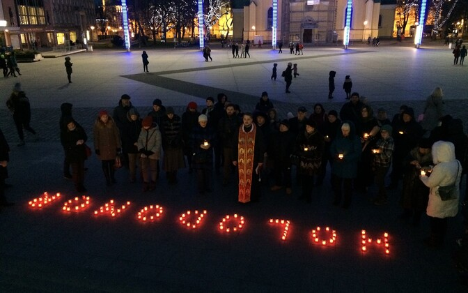 Ukrainians held a commemoration ceremony on Tallinn's Freedom Square for victims of the Ukrainians commemorate the Holodomor. .