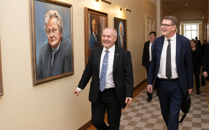 President of the Riigikogu Henn Põlluaas and Speaker of the Eduskunta Matti Vanhanen in Tallinn on Monday. Nov. 25,2019.