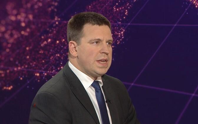 Jüri Ratas (Centre) on Monday evening's Aktuaalne kaamera.