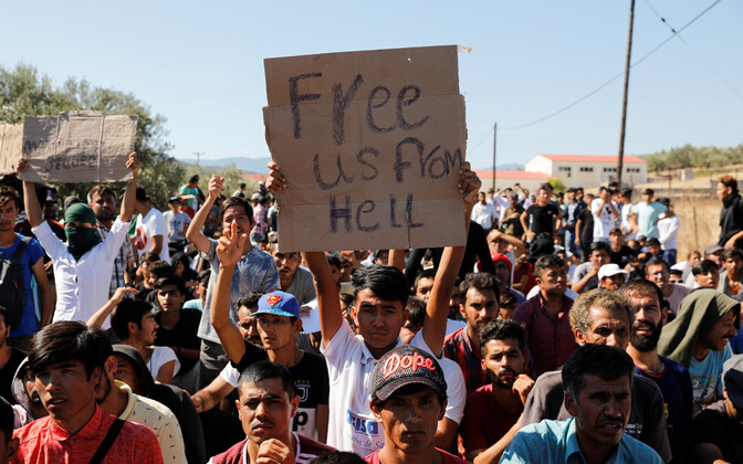 Põgenikud Kreekas Lesbose saarel asuvas laagris.