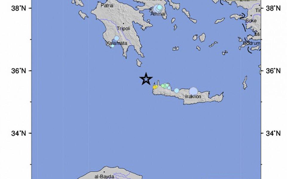 Землетрясение у острова Крит.
