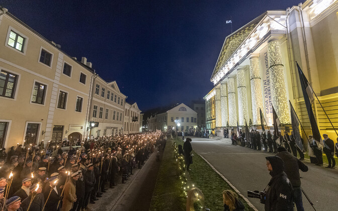 The traditional student torchlight procession marking the anniversary of the establishment of the University of Tartu as an Estonian-language university. Nov. 30, 2019.