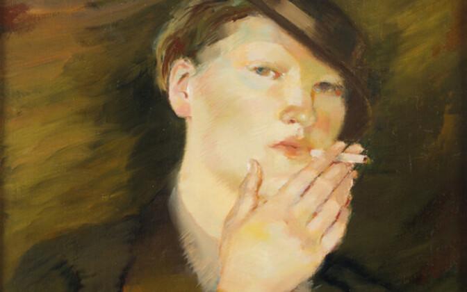 Lydia Mei (1896–1965). Naine sigaretiga. 1920. aastad. Õli. Eesti Kunstimuuseum.
