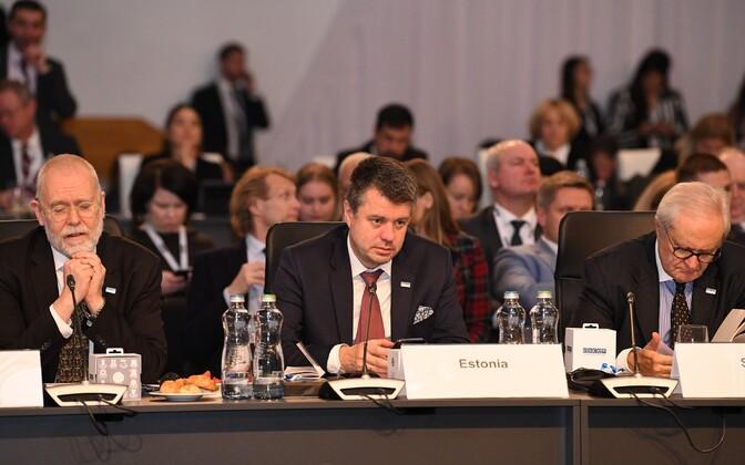 Minister of Foreign Affairs Urmas Reinsalu at an OSCE meeting in Bratislava, Slovakia.