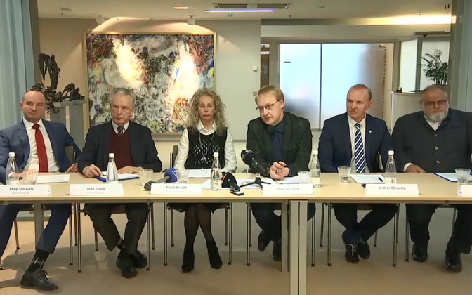 Wind farm private sector developers at Friday's press conference, together with Martin Helme's advisor Kersti Kracht.