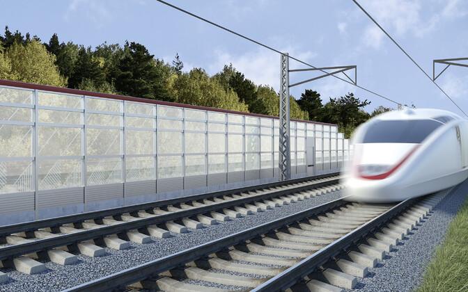 Rail Baltic artist's realization.
